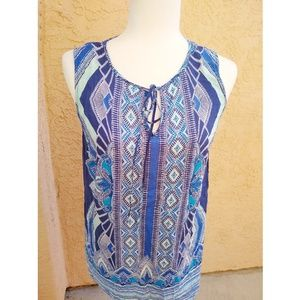 Anthropologie Cynthia Rowley | blue pattern tank